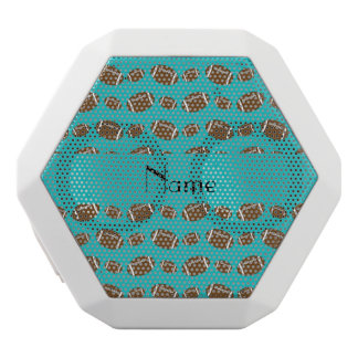 Personalized name turquoise footballs white boombot rex bluetooth speaker