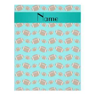 Personalized name turquoise footballs 21.5 cm x 28 cm flyer