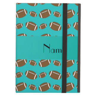 Personalized name turquoise footballs cover for iPad air