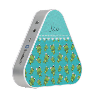 Personalized name turquoise frogs bluetooth speaker
