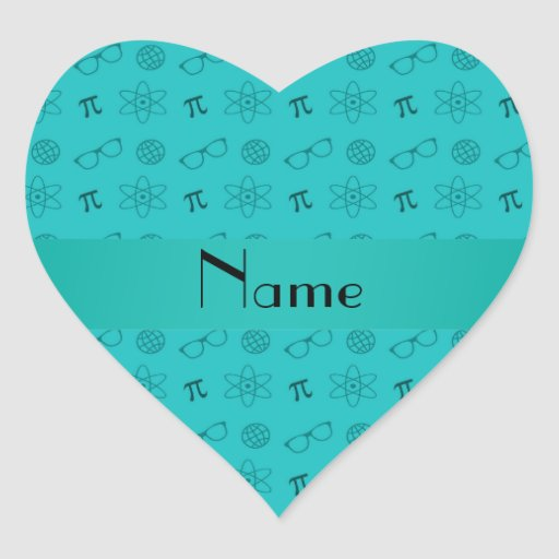 Personalized name turquoise geek pattern heart sticker
