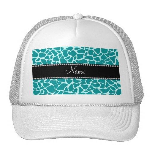 Personalized name turquoise giraffe pattern trucker hats