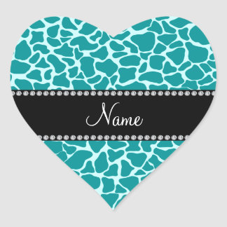Personalized name turquoise giraffe pattern heart stickers