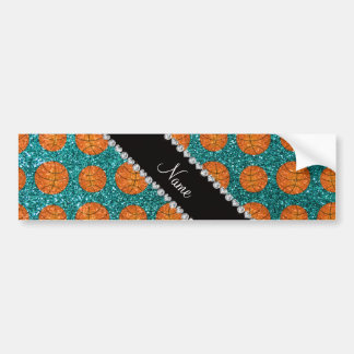 Personalized name turquoise glitter basketballs bumper stickers