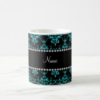 Personalized name turquoise glitter damask mugs