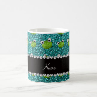 Personalized name turquoise glitter frogs coffee mug