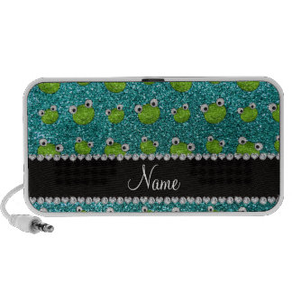 Personalized name turquoise glitter frogs notebook speakers