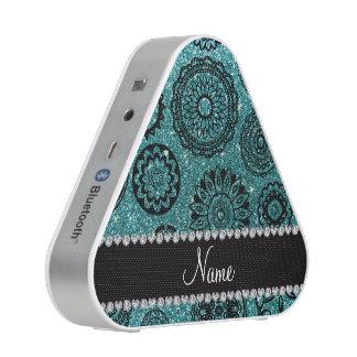 Personalized name turquoise glitter mandalas bluetooth speaker