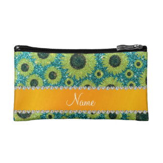 Personalized name turquoise glitter sunflowers makeup bag