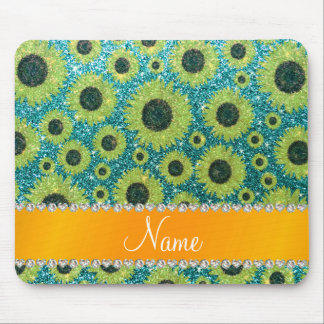 Personalized name turquoise glitter sunflowers mousepad