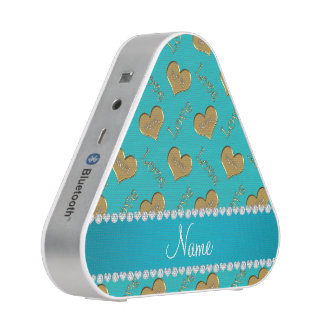 Personalized name turquoise gold hearts mom love