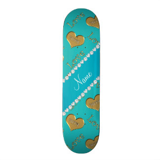 Personalized name turquoise gold hearts mom love 21.3 cm mini skateboard deck