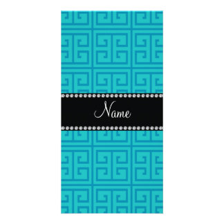 Personalized name turquoise greek key pattern personalized photo card
