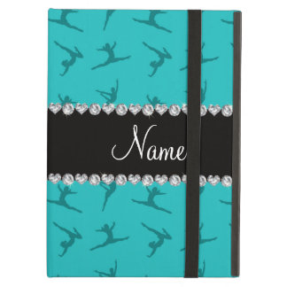 Personalized name turquoise gymnastics pattern iPad air covers