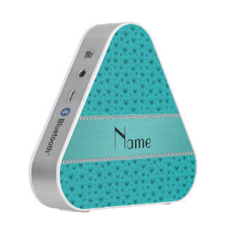 Personalized name turquoise hearts and butterflies speaker