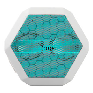 Personalized name turquoise honeycomb white boombot rex bluetooth speaker