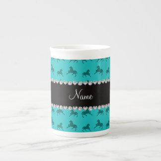 Personalized name turquoise horse pattern porcelain mug