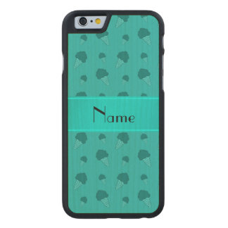 Personalized name turquoise ice cream pattern carved® maple iPhone 6 case