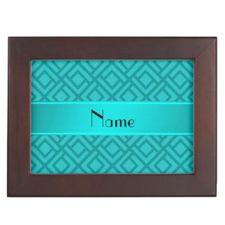 Personalized name turquoise interlocking triangles keepsake boxes