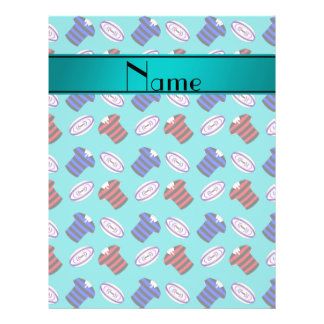 Personalized name turquoise jerseys rugby balls flyer