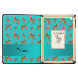 Personalized name turquoise Lakeland Terrier dogs Cover For iPad Air