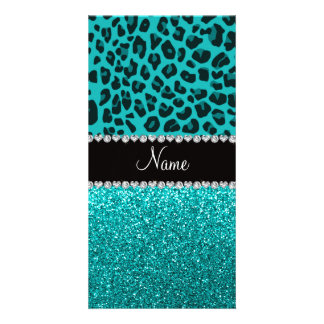 Personalized name turquoise leopard glitter custom photo card