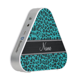 Personalized name turquoise leopard pattern speaker