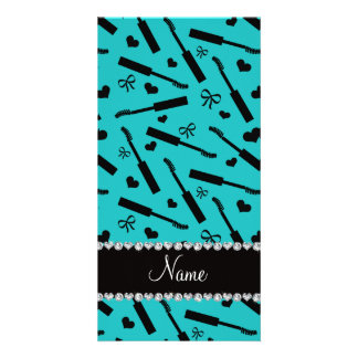 Personalized name turquoise mascara hearts bows customized photo card