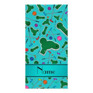 Personalized name turquoise mini golf photo card