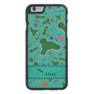 Personalized name turquoise mini golf carved® maple iPhone 6 slim case