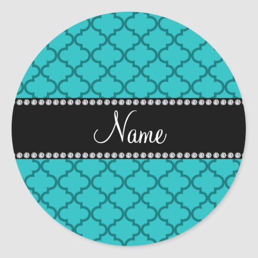Personalized name Turquoise moroccan Sticker