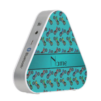 Personalized name turquoise motorcycles bluetooth speaker