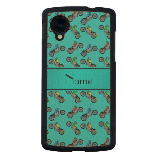 Personalized name turquoise motorcycles carved® maple nexus 5 slim case