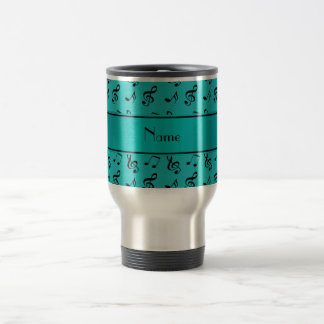 Personalized name turquoise music notes travel mug