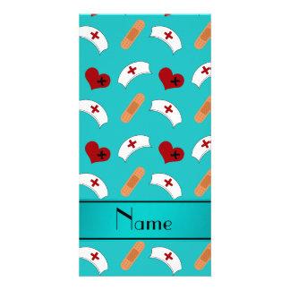 Personalized name turquoise nurse pattern photo card