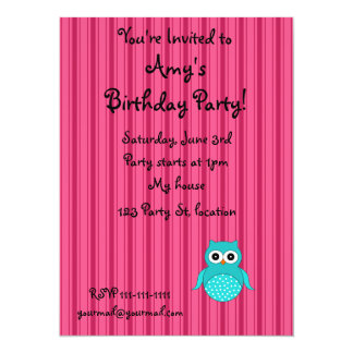 Personalized name turquoise owl pink stripes custom invite