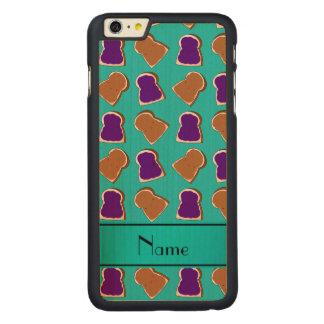 Personalized name turquoise peanut butter jelly carved® maple iPhone 6 plus case