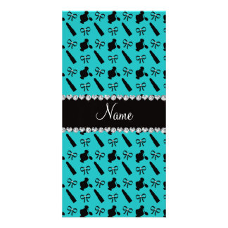 Personalized name turquoise perfume lipstick bows personalised photo card