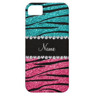 Personalized name turquoise pink glitter zebra iPhone 5 cover