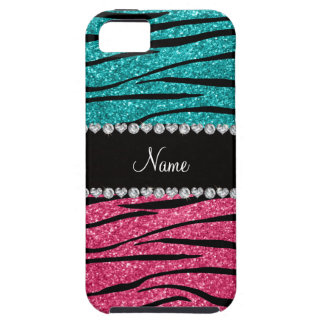 Personalized name turquoise pink glitter zebra iPhone 5 case