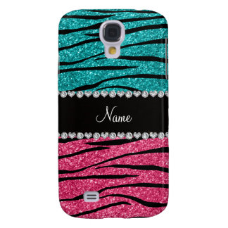 Personalized name turquoise pink glitter zebra galaxy s4 cover