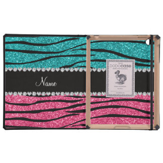 Personalized name turquoise pink glitter zebra cases for iPad