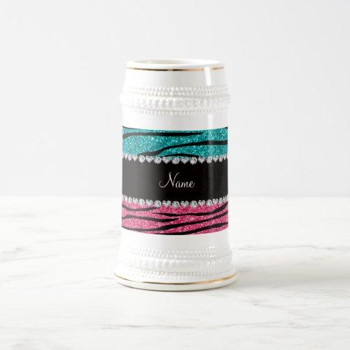 Personalized name turquoise pink glitter zebra mugs