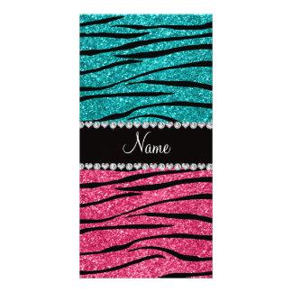 Personalized name turquoise pink glitter zebra photo card