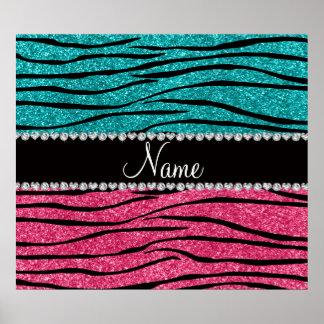 Personalized name turquoise pink glitter zebra print