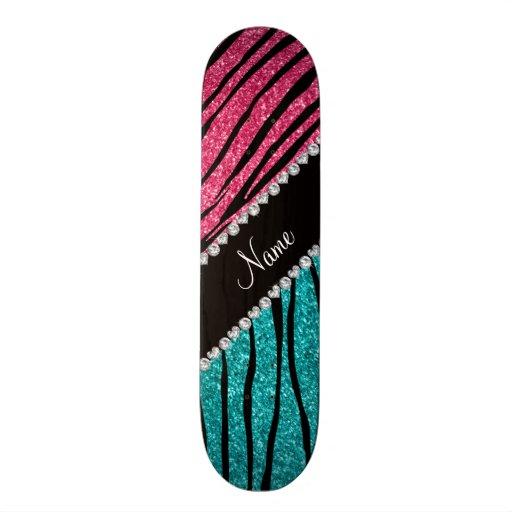 Personalized name turquoise pink glitter zebra skate decks