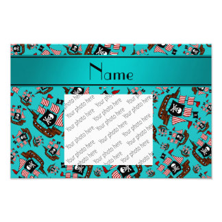 Personalized name turquoise pirate ships photographic print