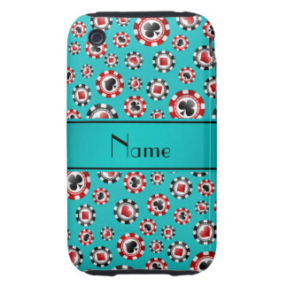 Personalized name turquoise poker chips iPhone 3 tough case