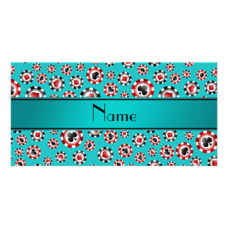 Personalized name turquoise poker chips personalised photo card