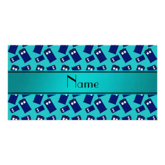 Personalized name turquoise police box custom photo card